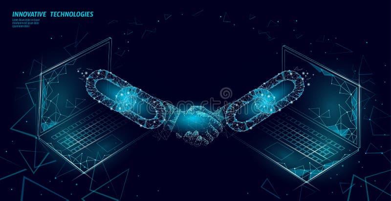 Apretón de manos de la tecnología 3D de Blockchain Concepto del contrato del acuerdo de las finanzas del negocio Bandera poliviní ilustración del vector