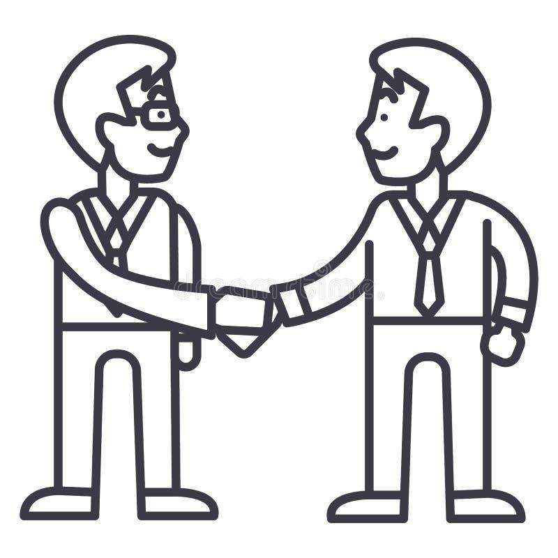 Apretón de manos de los hombres de negocios, línea icono, muestra, ejemplo del vector de la sociedad en el fondo, movimientos edi libre illustration