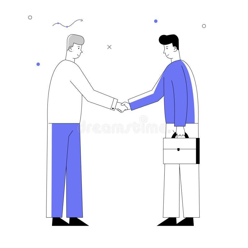 Apretón de manos de los hombres de los socios comerciales y concepto de la sociedad Empresarios que se encuentran para la discusi stock de ilustración