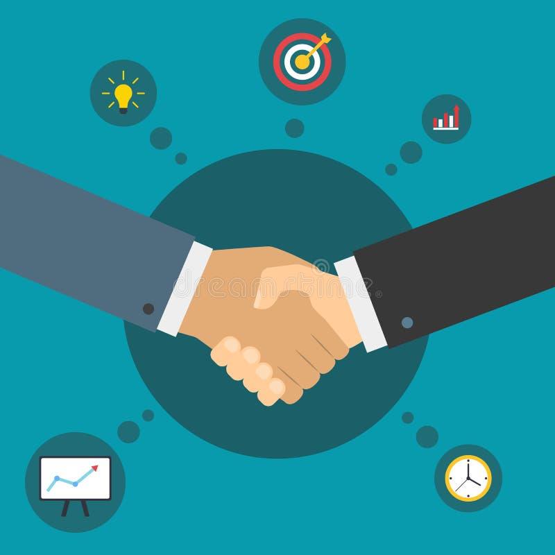 Apretón de manos de socios comerciales Reparto acertado Sociedad del asunto ilustración del vector