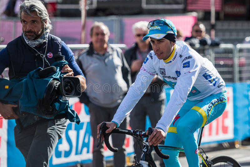 Aprica, Italia 26 maggio 2015; Fabio Aru after a stage of the Tour of Italy 2015 stock photography