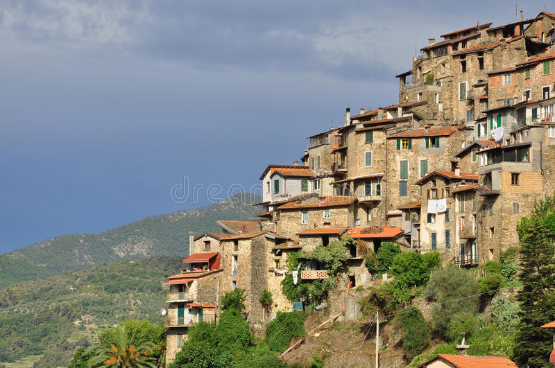 Apricale mountain village, Liguria, Italy. The hanging medieval village of Apricale, province of Imperia, Liguria, Italy stock photos