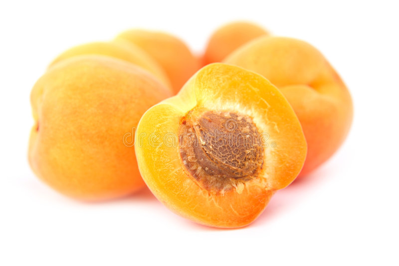 Apricot. Fresh apricots isolated on white background stock images
