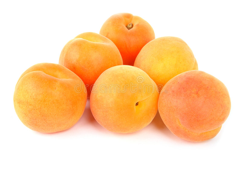 Apricot. Fresh apricots isolated on white background stock photo