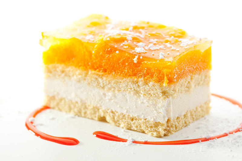 Apricot Cake. With Strawberries Topping royalty free stock photos