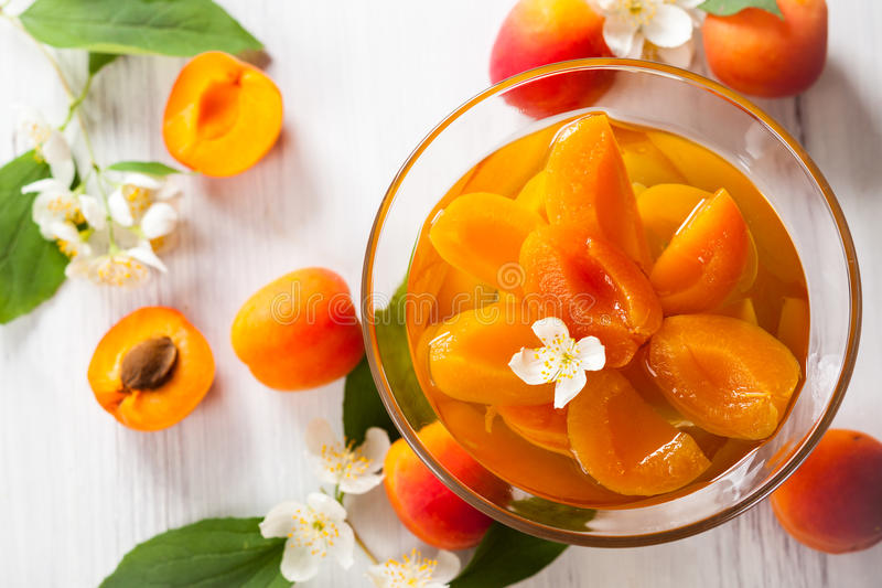 Apricot compote. Fresh apricot compote in glass bowl stock photos