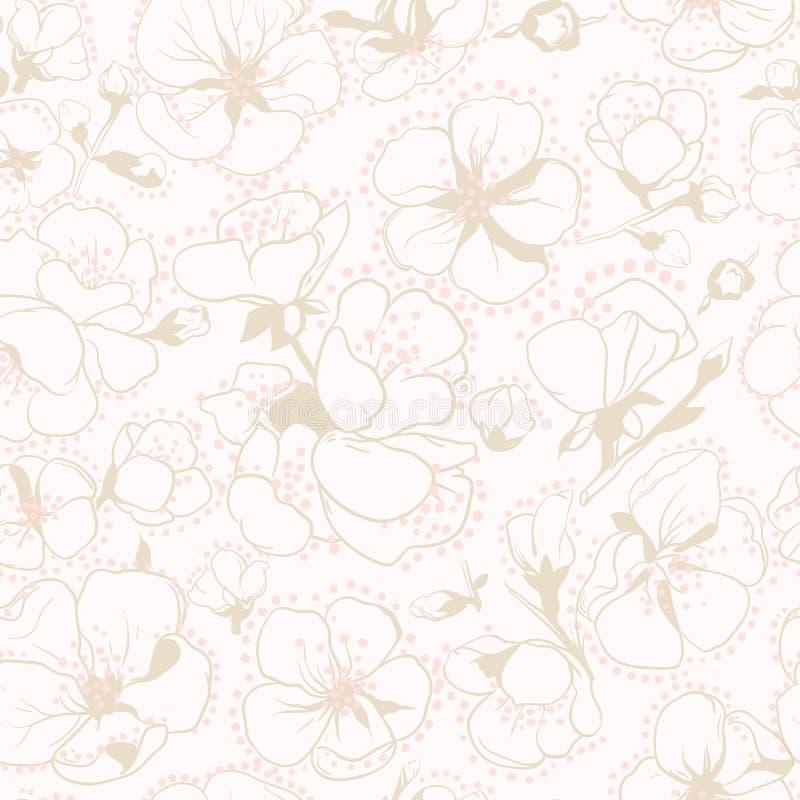 Apricot flowers pattern vector illustration