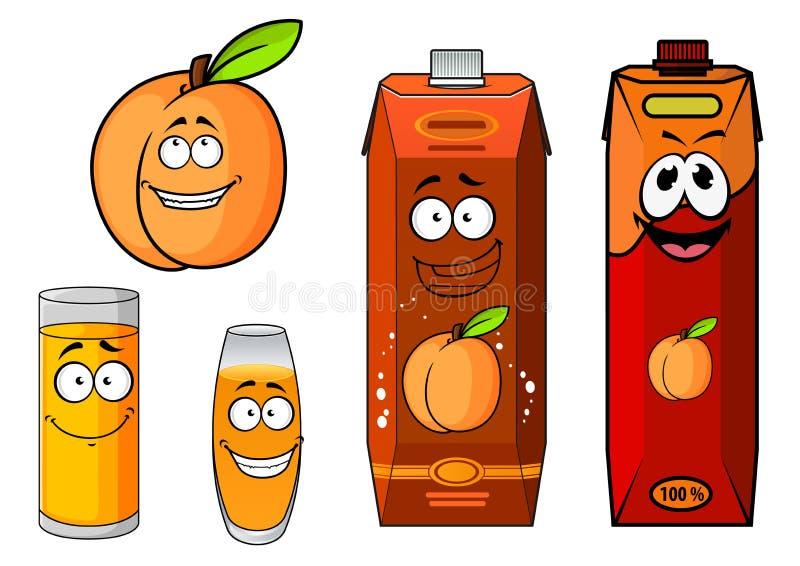 Apricot fruit, juice packs and glasses stock illustration