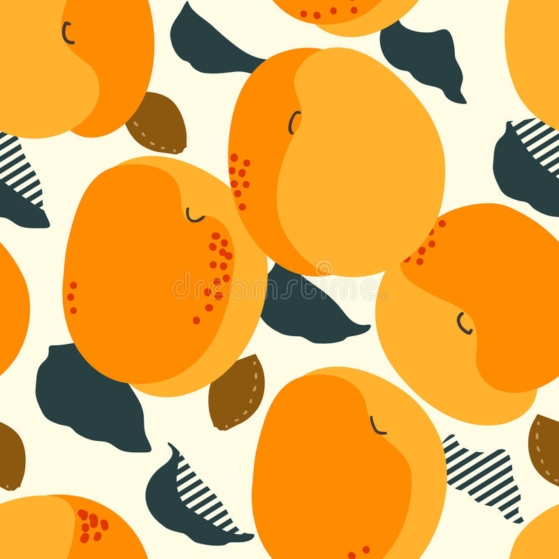 Apricot fruits seamless pattern. Fresh apricots, leaves, stones stock illustration