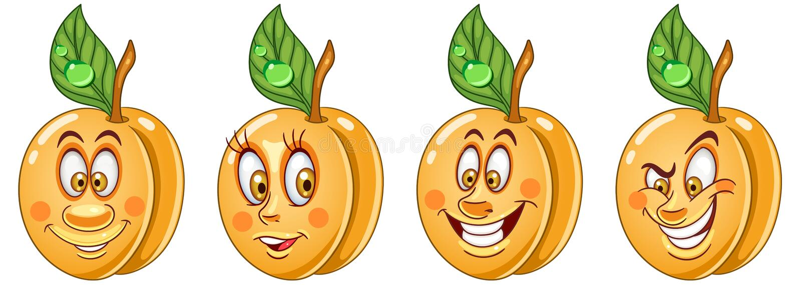 Apricot. Food Emoji Emoticon collection royalty free stock images