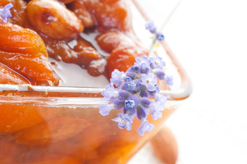 Download Apricot jam with almonds stock photo. Image of healthy - 15630224