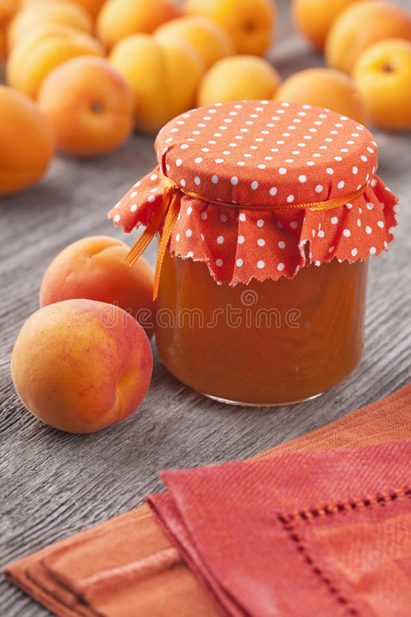 Apricot jam and fruits stock image