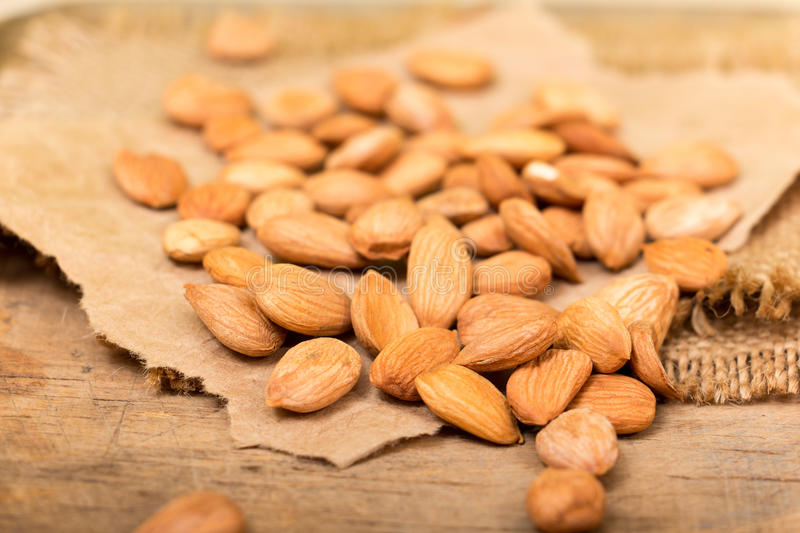 Apricot kernels. On the wooden board royalty free stock photo