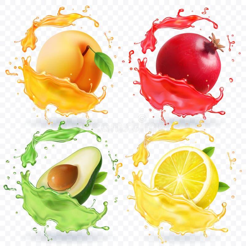 Apricot, lemon, pomegranate, avocado juice. Fruits in realistic splash vector set royalty free illustration