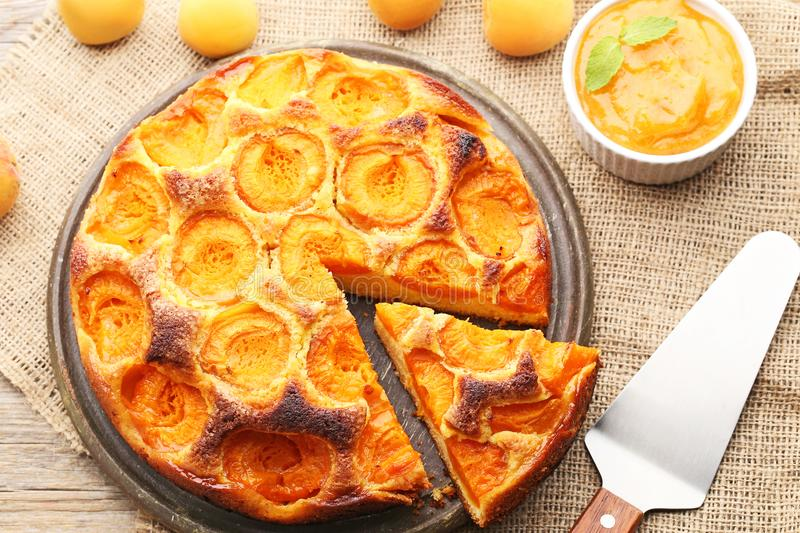 Apricot pie with jam stock images