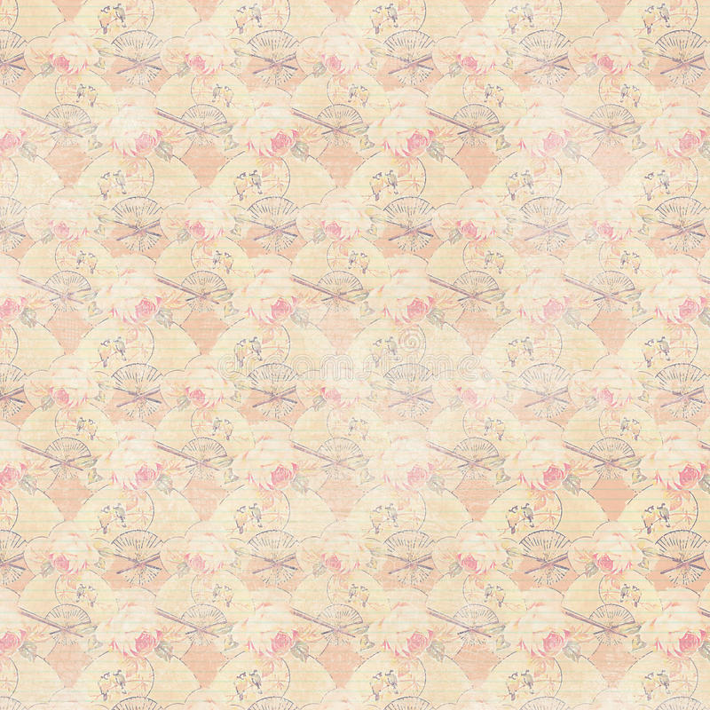Apricot pink antique wreath roses and fans repeat background stock illustration