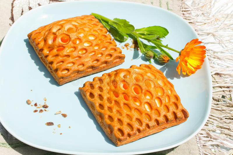 Apricot puff pastries. Two glazed lattice danish puff pastries filled with apricot royalty free stock images