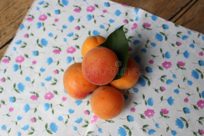 Apricots on the board royalty free stock photos