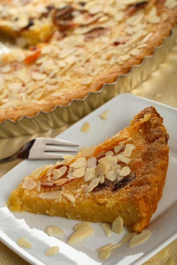 Apricots cake with almonds stock photos