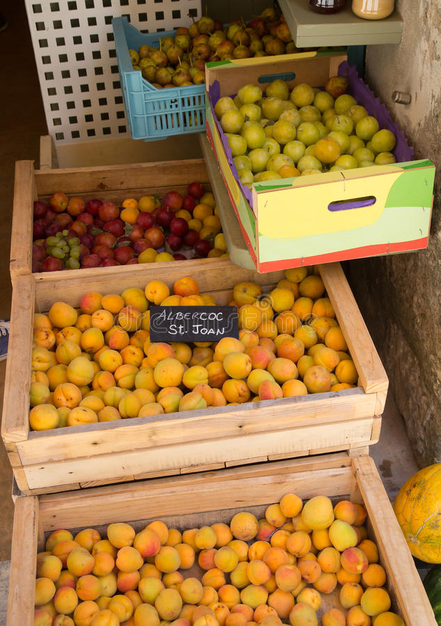 Apricots in crates on market royalty free stock photos