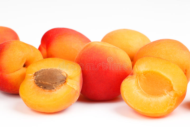 Apricots. A few apricots with white background stock photos