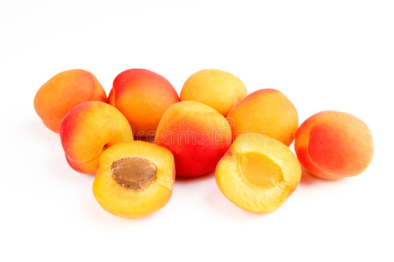 Apricots. A few apricots with white background royalty free stock photography