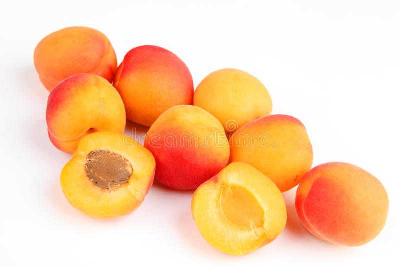 Apricots. A few apricots with white background stock photography