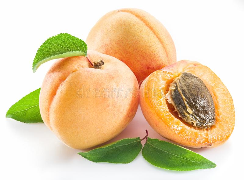 Apricots and its cross-section on the white background.  stock images