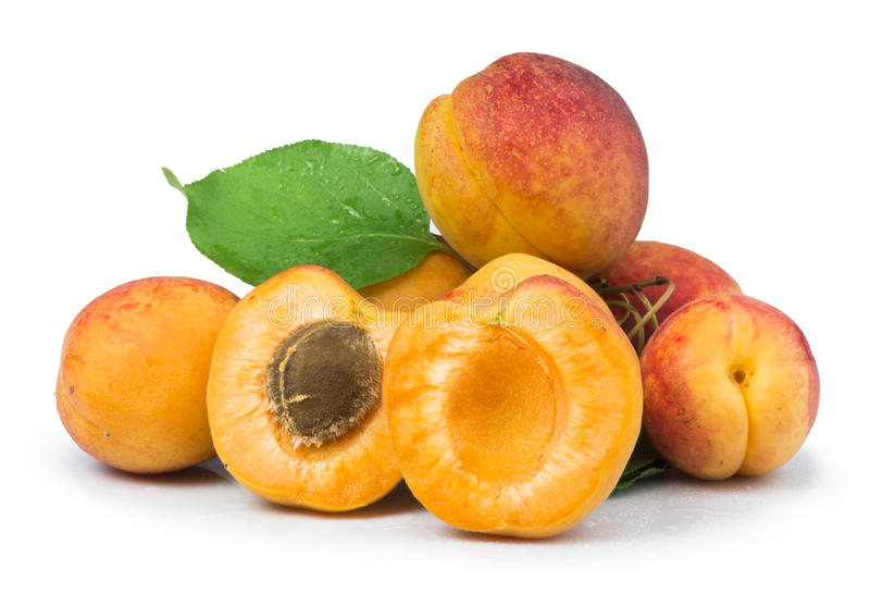 Download Apricots And Leaf White Isolated Stock Photo - Image of dieting, orange: 33627442