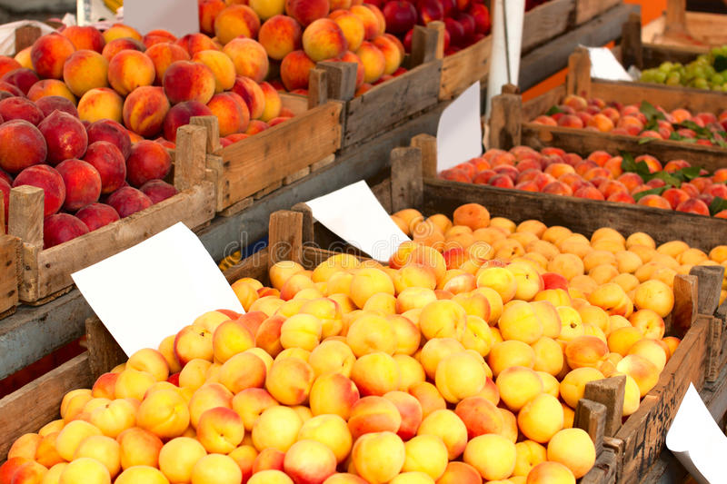 Apricots and peaches at a market stock photo