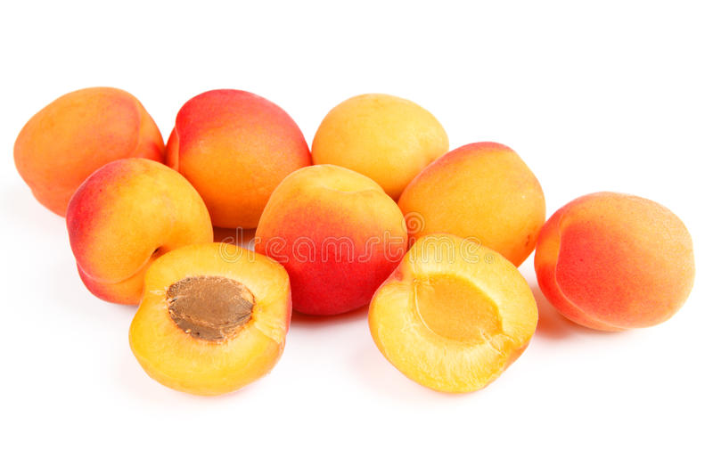 Apricots. Some apricots with white background stock image