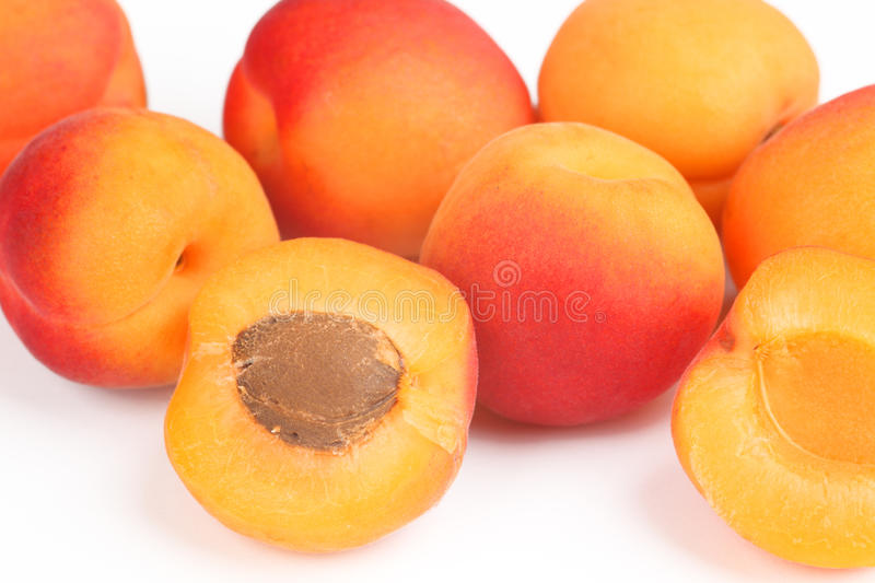 Apricots. Some apricots with white background royalty free stock photography