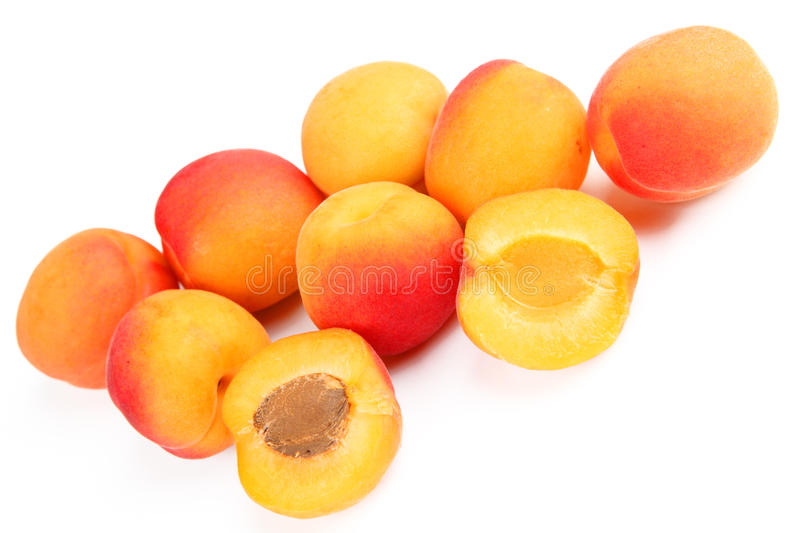 Apricots. Some apricots with white background royalty free stock images