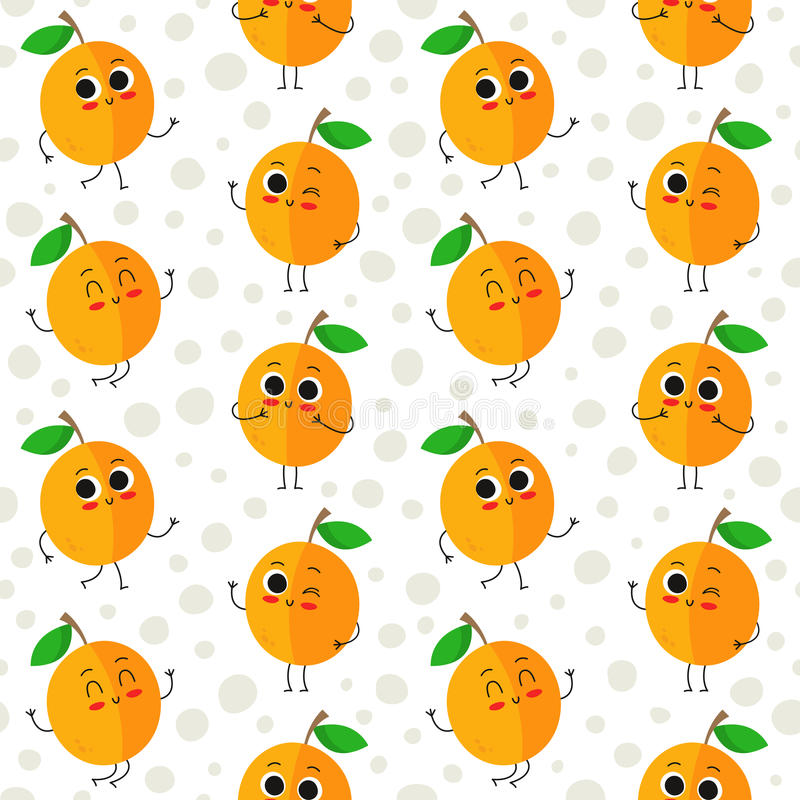 Apricots, vector seamless pattern royalty free stock photo