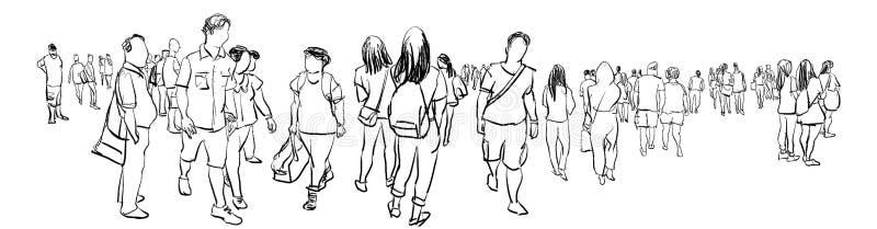 Apriete la opinión a pulso del panorama del bosquejo de la tinta del grupo de personas que camina fotografía de archivo