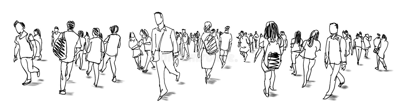 Apriete la opinión a pulso del panorama del bosquejo de la tinta del grupo de personas que camina foto de archivo libre de regalías