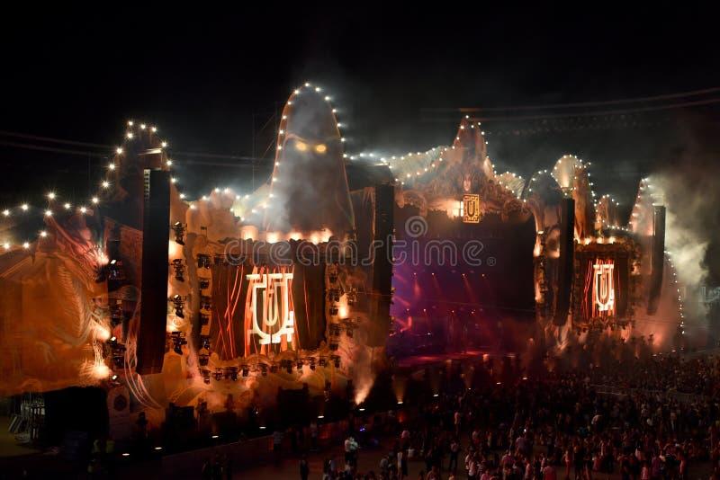 Apriete, los millares de gente en el festival de música imagen de archivo