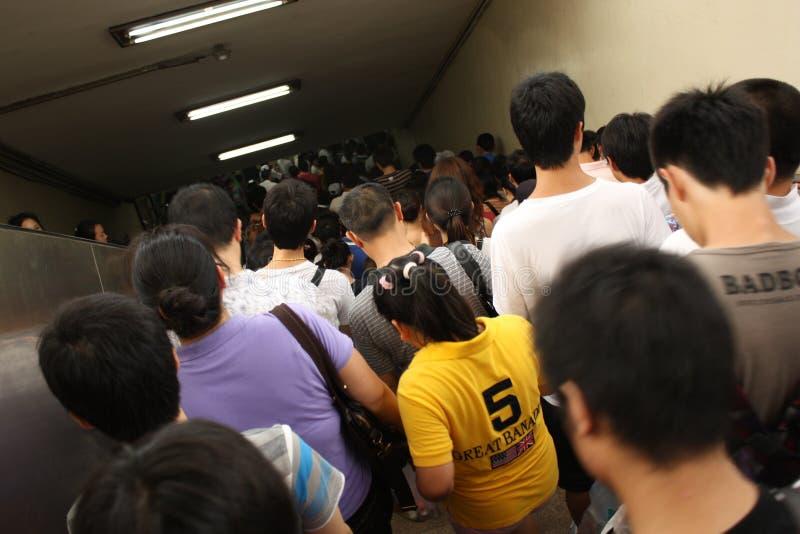 Apriete sobre una hora punta en el subterráneo de Pekín foto de archivo libre de regalías
