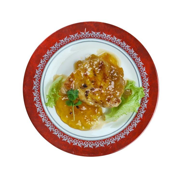 Aprikos Dijon Pork Chops royaltyfria bilder