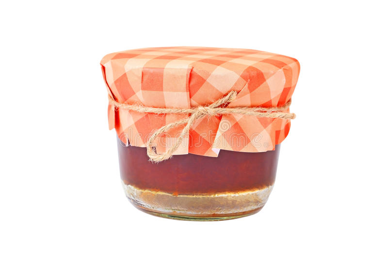 Aprikosdriftstopp i den glass kruset royaltyfri foto