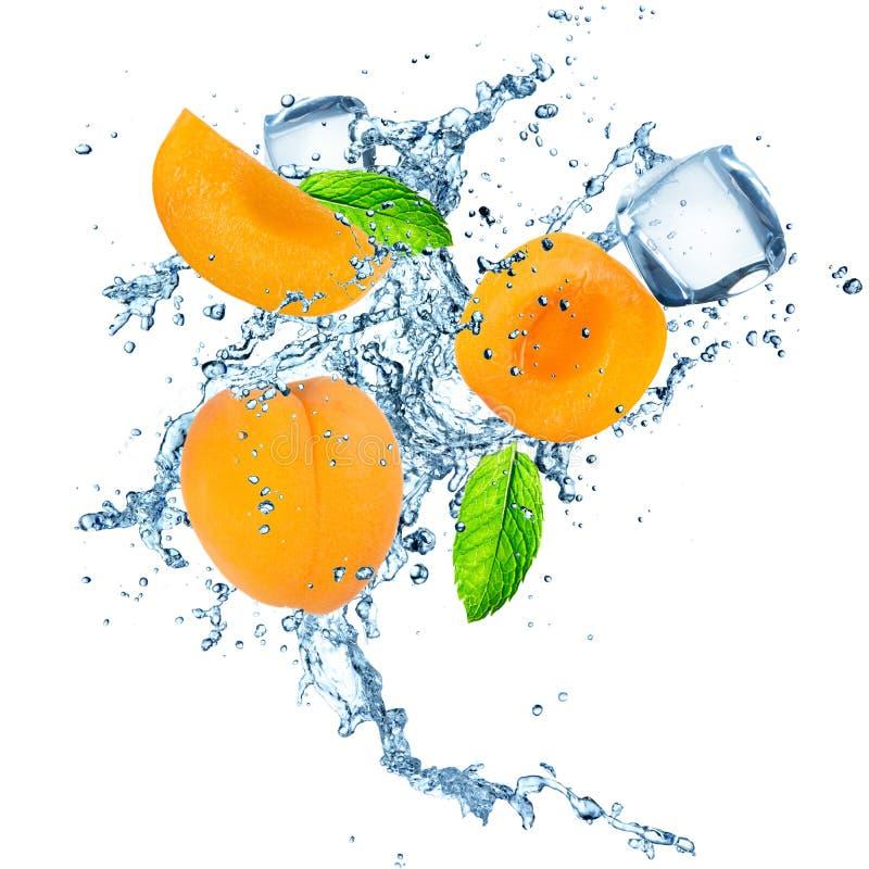 Aprikose im Wasserspritzen lizenzfreie stockbilder