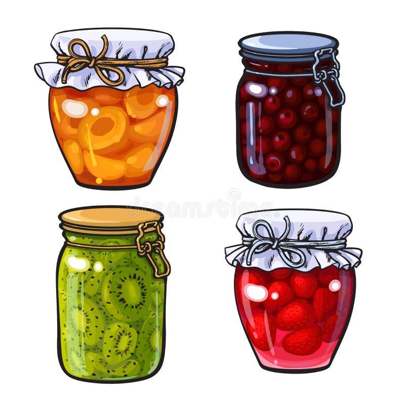 Aprikose, Kirsche, Erdbeere und Kiwi stauen, Marmelade in den traditionellen Gläsern lizenzfreie abbildung