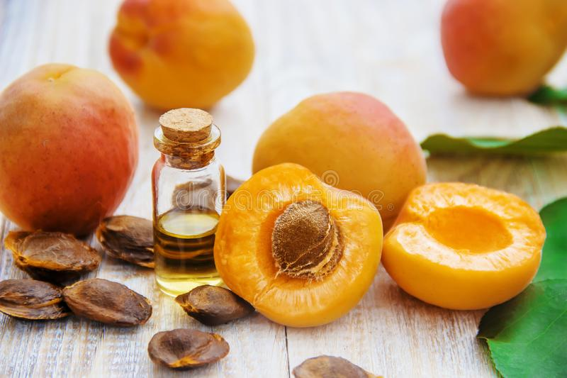 Aprikosenöl in einem kleinen Glas Selektiver Fokus stockbilder