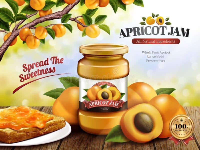 Aprikosen-Marmeladenanzeigen vektor abbildung