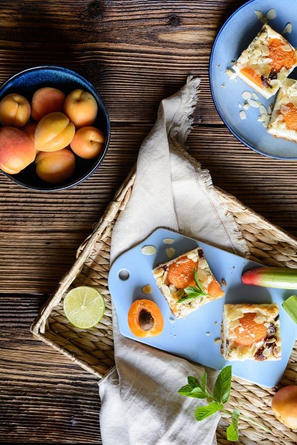 Aprikosenkäsekuchen mit dem Rhabarber, überstiegen mit Krümel- und Mandelflocken lizenzfreies stockbild