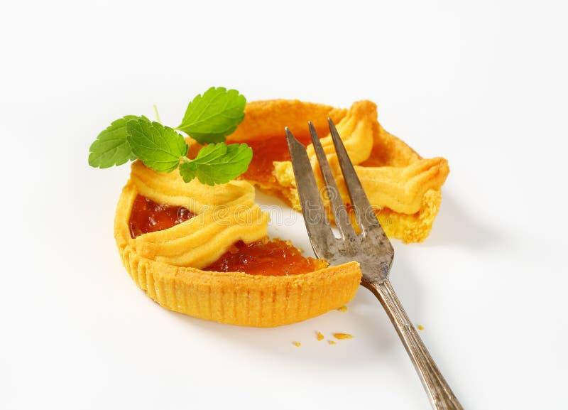 Aprikosenkuchen mit Gitter lizenzfreie stockfotos