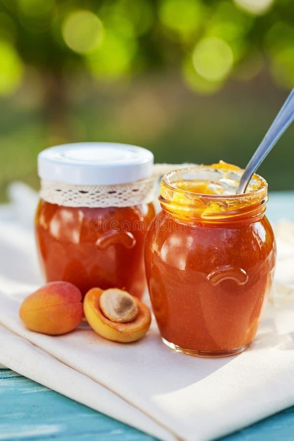 Aprikosenmarmelade in den Glasgefäßen mit frischer Frucht stockfoto