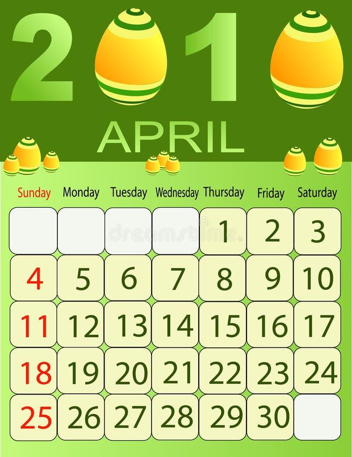 Download April 2010 stock vector. Image of year, organizer, gregorian - 9927658