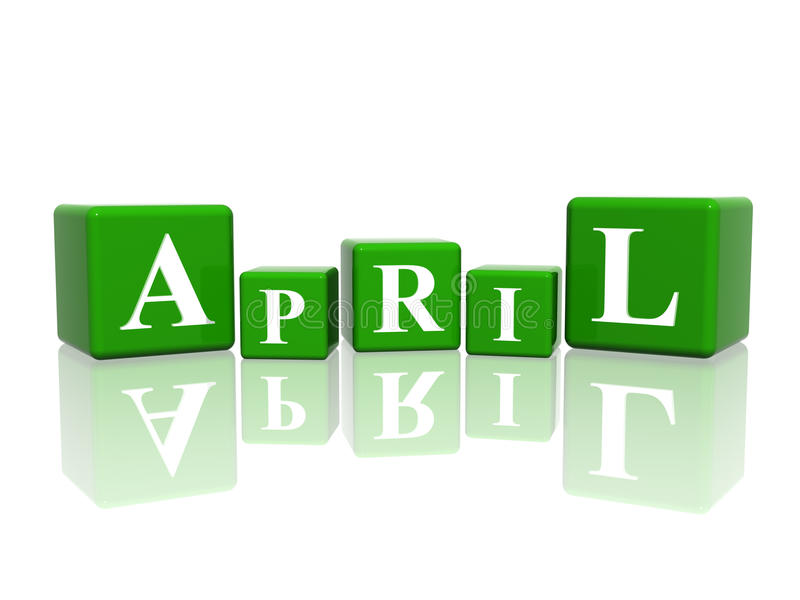 April in 3d cubes vector illustration