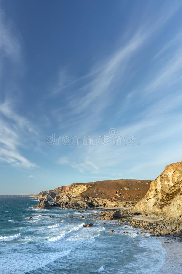 April-Abend, Trevaunance-Bucht, St. Agnes, Cornwall stockbild